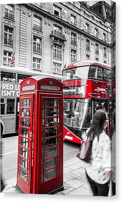 Red Telephone Box With Red Bus In London Canvas Print