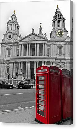 Red Telephone Boxes In London Canvas Print