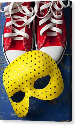 Red Tennis Shoes And Mask Canvas Print by Garry Gay
