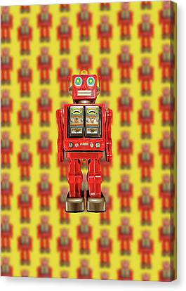 Canvas Print featuring the photograph Red Tin Toy Robot Pattern by YoPedro