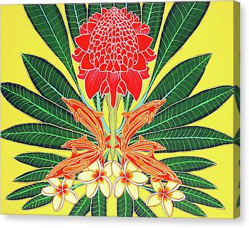 Red Torch Ginger Canvas Print by Debbie Chamberlin