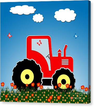 Red Tractor In A Field Canvas Print by Gaspar Avila