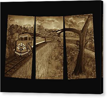 Red Train Passage - Sepia Canvas Print by Claude Beaulac