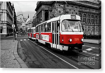 Red Tram Canvas Print by M G Whittingham