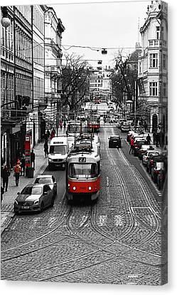 Red Tram Of Prague Canvas Print