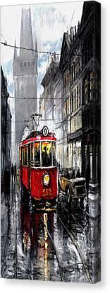 Red Tram Canvas Print by Yuriy  Shevchuk