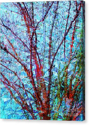 Red Tree Over Water Canvas Print by Ann Johndro-Collins