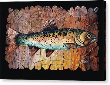 Red Trout Fresco Canvas Print
