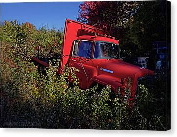Red Truck Canvas Print by Jerry LoFaro