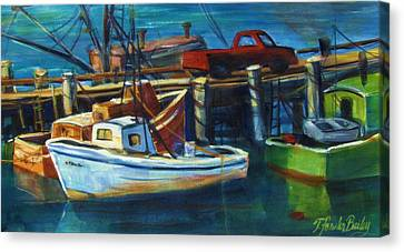 Red Truck On Old Morro Bay Pier Canvas Print by Therese Fowler-Bailey