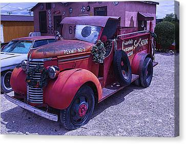 Red Truck Permit No 3 Canvas Print by Garry Gay