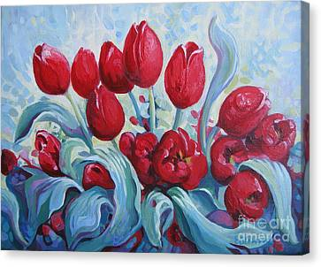 Red Tulips Canvas Print by Elena Oleniuc