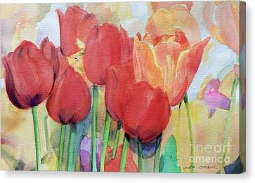 Red Tulips In Spring Canvas Print by Greta Corens