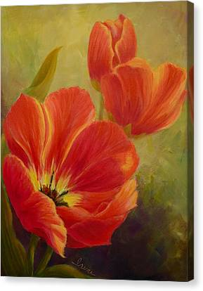 Red Tulips Canvas Print by Irene Hurdle