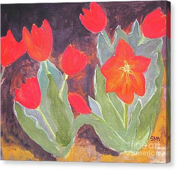 Canvas Print featuring the painting Red Tulips by Sandy McIntire