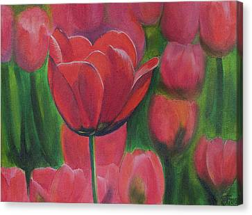 Red Tulips. Tulips In The Field. Red Flowers. Oil Paints. Canvas Print by Elena Pavlova