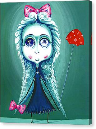 Red Umbrela - Girl With Big Eyes And Red Umbrella - Unusual Art Canvas Print by Tiberiu Soos