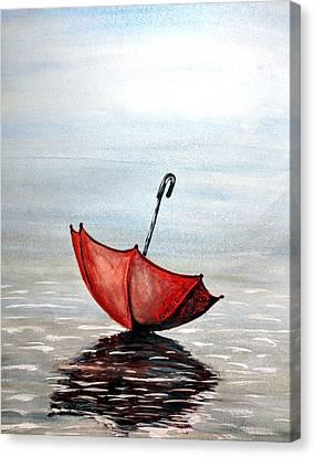 Red Umbrella Canvas Print by Edwin Alverio