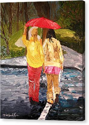 Red Umbrella Canvas Print by Michael Lee