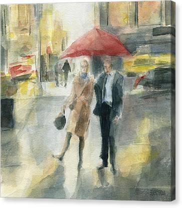 Rainy Day Canvas Print - Red Umbrella New York City by Beverly Brown Prints