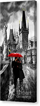 Red Umbrella Canvas Print by Yuriy  Shevchuk