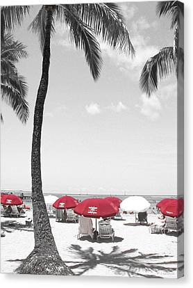 Red Umbrellas On Waikiki Beach Hawaii Canvas Print by Kerri Ligatich