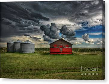 Red Under Grey Canvas Print