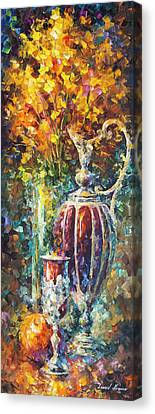 Red Vase Canvas Print by Leonid Afremov