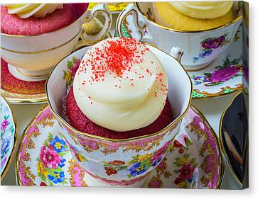 Red Velvet Cupcake In Tea Cup Canvas Print by Garry Gay