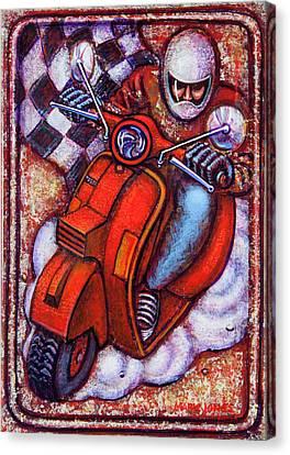 Red Vespa Canvas Print by Mark Jones