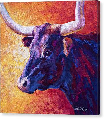 Longhorn Canvas Print - Red Violet by Marion Rose
