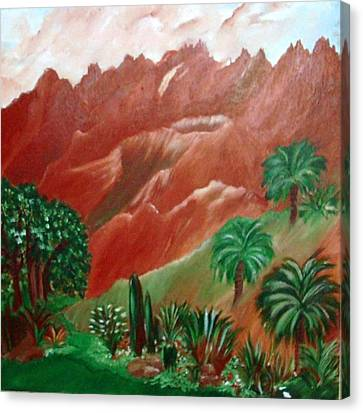 Canvas Print featuring the painting Red Volcano by Sherri  Of Palm Springs