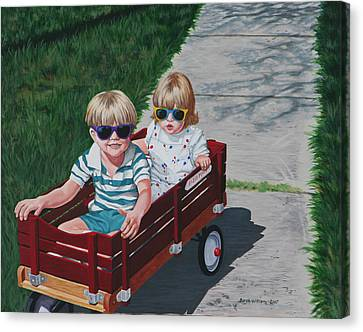 Red Wagon Canvas Print by Penny Birch-Williams