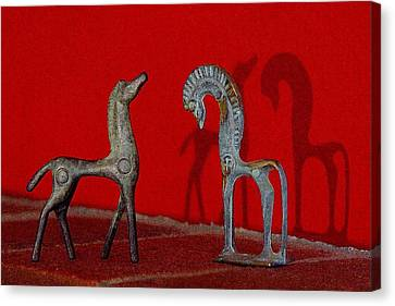 Canvas Print featuring the digital art Red Wall Horse Statues by Jana Russon