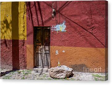Red Wall - San Miguel De Allende Canvas Print by Amy Fearn