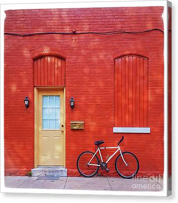 Red Wall White Bike Canvas Print by Edward Fielding