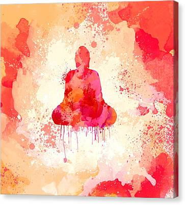 Red Watercolor Buddha Paining Canvas Print by Thubakabra