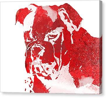 Red Watercolor Bulldog Canvas Print
