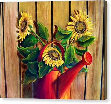 Red Watering Can With Sunflowers Canvas Print