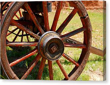Wagon Wheels Canvas Print - Red Wheels by David Lee Thompson