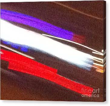 Red White And Blue Abstract Canvas Print by Ken Lerner