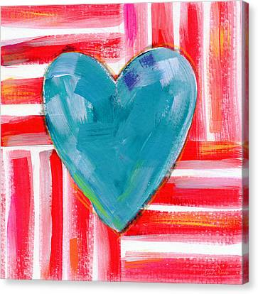 Red White And Blue Love- Art By Linda Woods Canvas Print