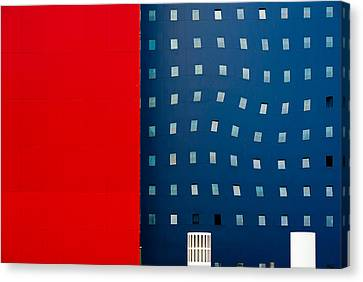 Abstract Building Canvas Print - Red White And Blue by Wayne Pearson