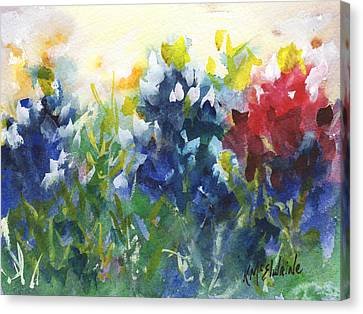 Red White And Bluebonnets Watercolor Painting By Kmcelwaine Canvas Print