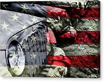 Red White And Jeep Canvas Print by Luke Moore