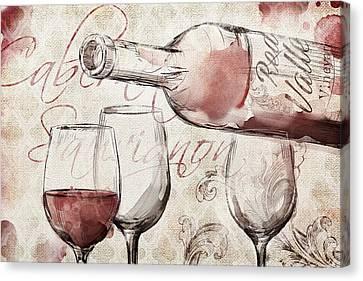 Burlap Canvas Print - Red Wine Burlap by Mauro DeVereaux