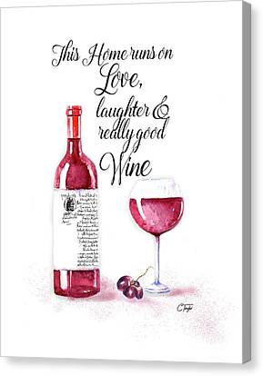 Canvas Print featuring the digital art Red Wine by Colleen Taylor
