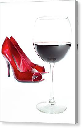 Red Wine Glass Red Shoes Canvas Print
