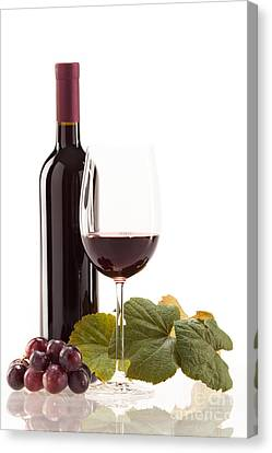 Red Wine In Glass With Fruit Canvas Print