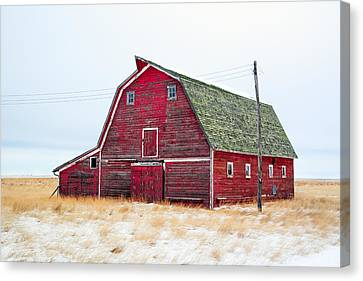 Old Barns Canvas Print - Red Winter Barn by Todd Klassy